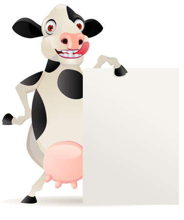 bovine: Funny cow cartoon with blank sign