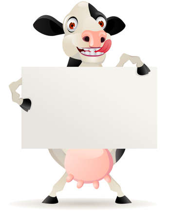 Funny cow cartoon with blank sign  Vector