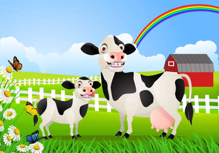 farm land: cow family in pasture Illustration