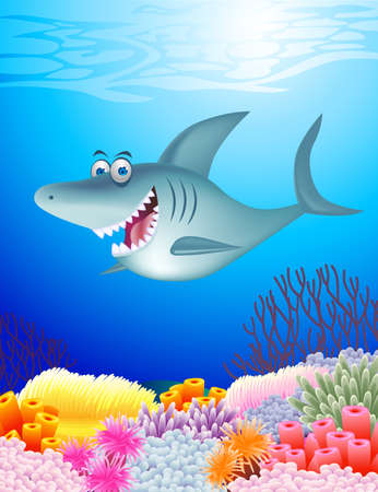 anemones: Shark cartoon