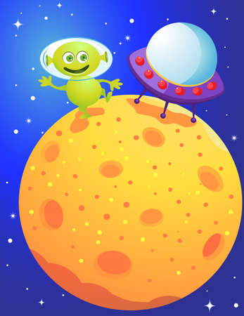spacecraft: Funny alien  Illustration