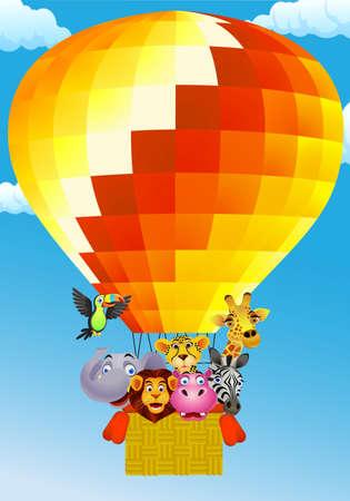 Animal cartoon on balloon Vector