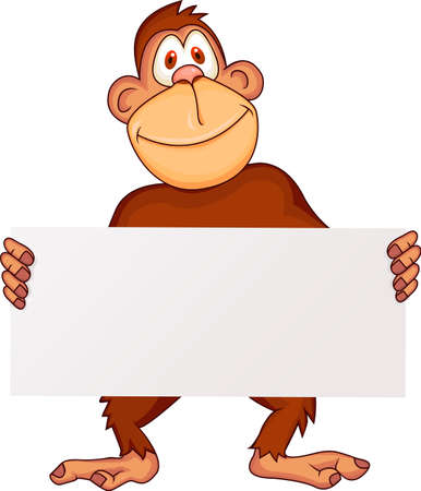 Chimp: Ape with blank sign Illustration