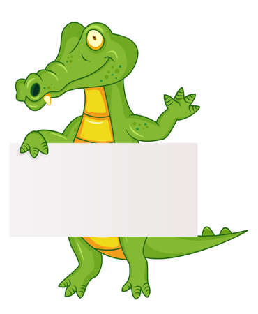 depiction: Crocodile with blank sign  Illustration
