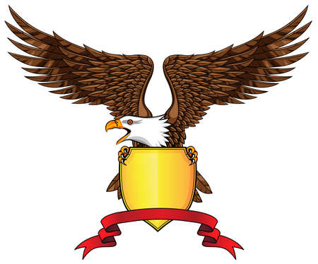 Eagle with shield and emblem  Vector