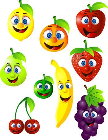 banaan cartoon: Fruit cartoon Stock Illustratie