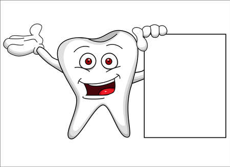 floss: Tooth with blank sign Illustration