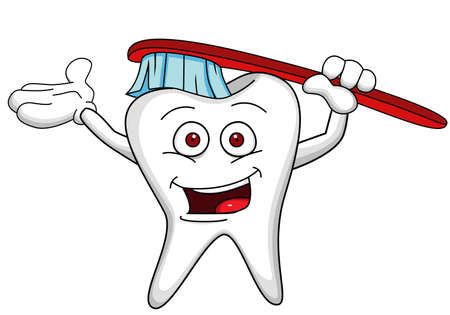 tooth cleaning: Tooth character with brush