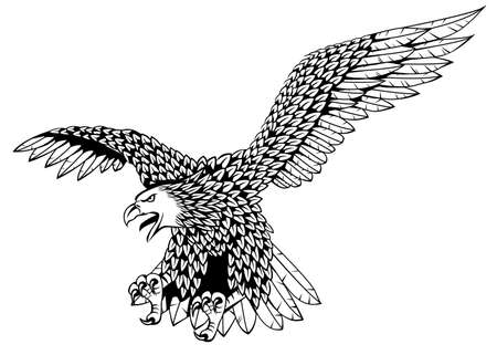cross hatched: Detailed eagle vector