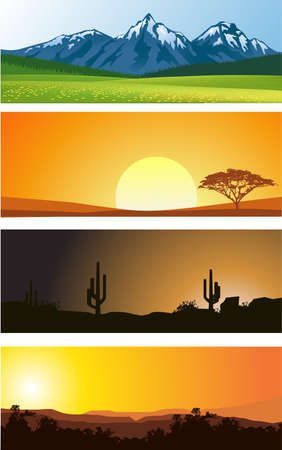 desert sunset: Landscape background Illustration