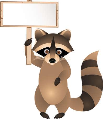 racoon: Racoon cartoon with blank sign Illustration