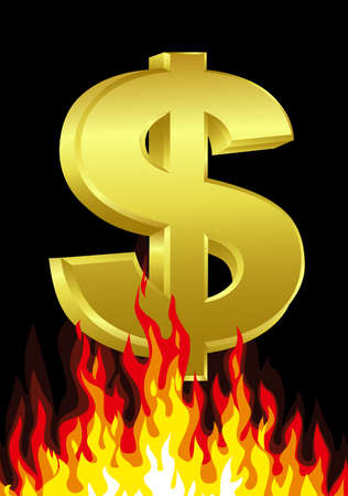 dues: Dollar On Fire Illustration