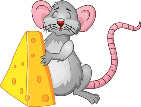 Funy Rat With Cheese Vector
