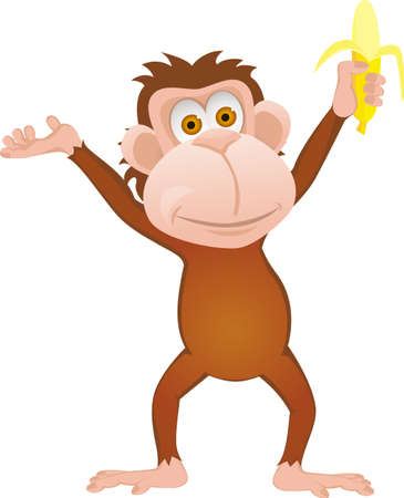 Funny cartoon monkey with banana isolated on white Vettoriali