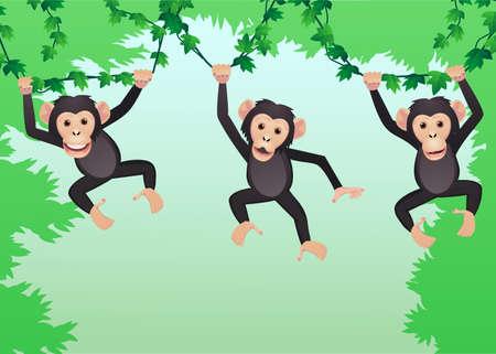 singes: Dessin anim� Chimpanz� Illustration