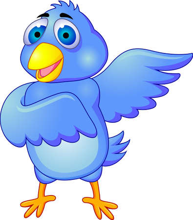 Cartoon of blue bird  Isolated on white