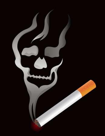Cigarette with skull smoke shape Vector