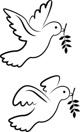 holy leaves: vector dove symbol