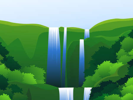 Beautiful waterfall background Vector