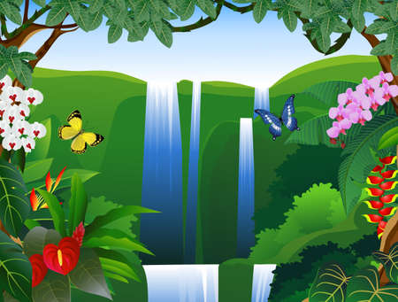 waterfall river: Nature background Illustration