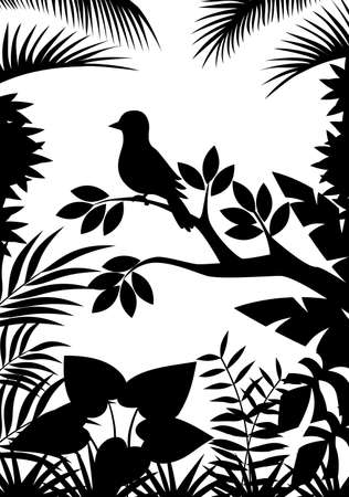 Tropical forest silhouette background Vector