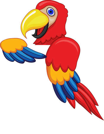 Parrot With Blank Sign Illustration