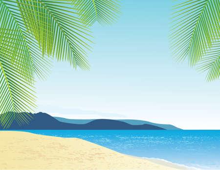 caribbean sea: Beach Background Illustration