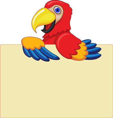 Parrot With Blank Sign Ilustrace