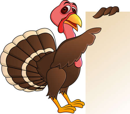 seasonable: Turkey with blank sign Illustration