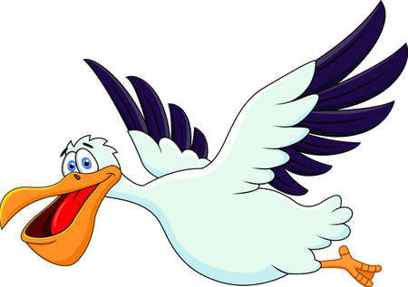 Pelican Cartoon Flying Vector