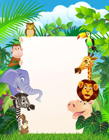 jungle cartoon: Animal salvaje y firmar en blanco Vectores