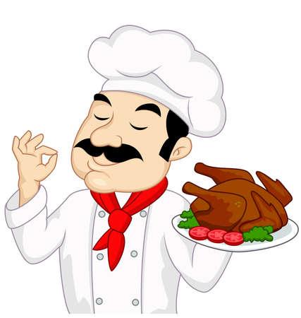 pollo arrosto: Chef con pollo o tacchino arrostito Vettoriali