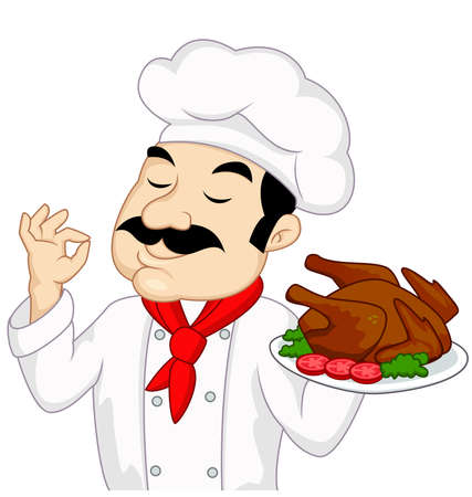 Chef with chicken or turkey rosted Vector