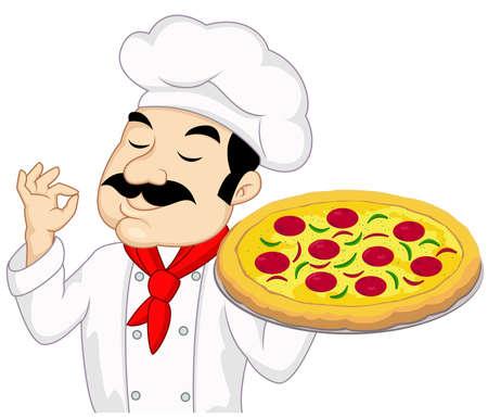 cocinero italiano: Chef con la pizza Vectores