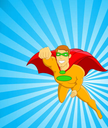Superhero flying over city Stock Vector - 13281619