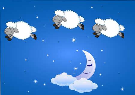 insomnio: Ovejas con la luna y las estrellas