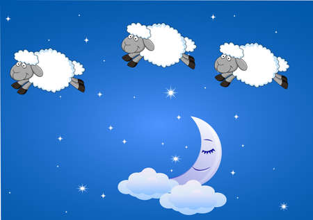 Sheep with moon and stars Stock Illustratie