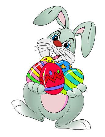 conejo caricatura: Conejo de Pascua con huevos de pascua