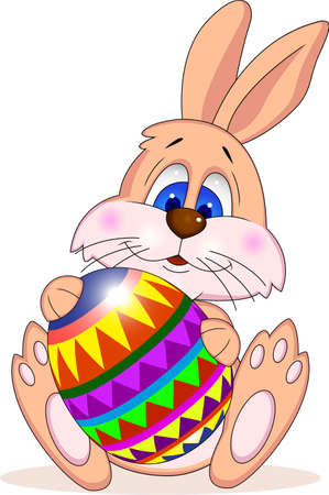 lapin cartoon: P�ques rabit with easter egg