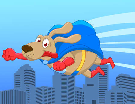 Super dog flying over city Vector