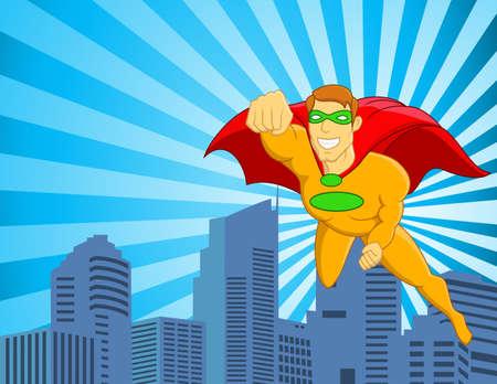 libros volando: Superhero volando sobre la ciudad