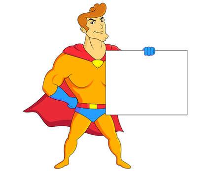kiddies: Superh�roe con el cartel en blanco Vectores