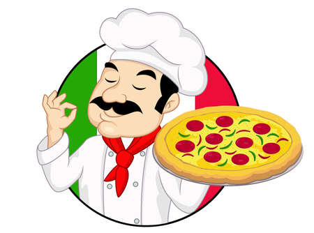 Chef-kok met pizza Stock Illustratie