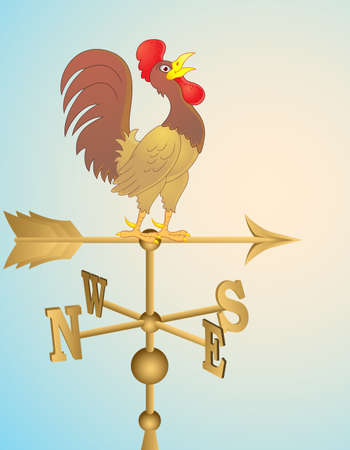 rooster weather vane: Rooster cartoon weather vane Illustration