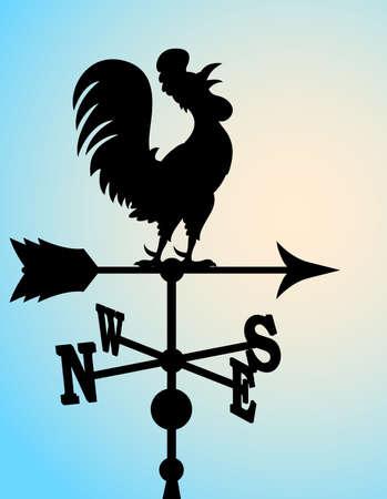 rooster at dawn: sagoma di banderuola Vettoriali