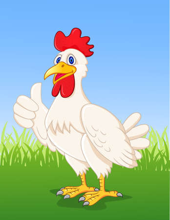 Chicken cartoon with thumb up Vector