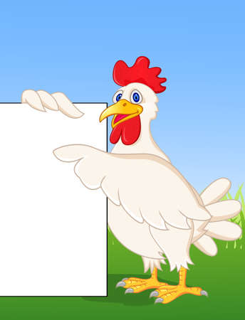 Chicken cartoon with blank sign Vector
