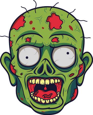 Tête de zombie de dessin animé