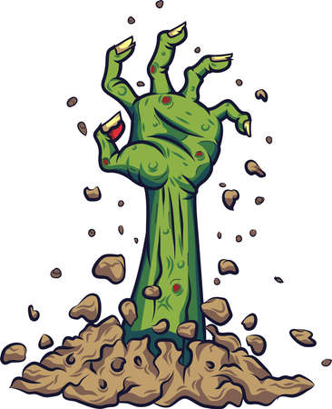 Cartoon zombie hand out of the ground