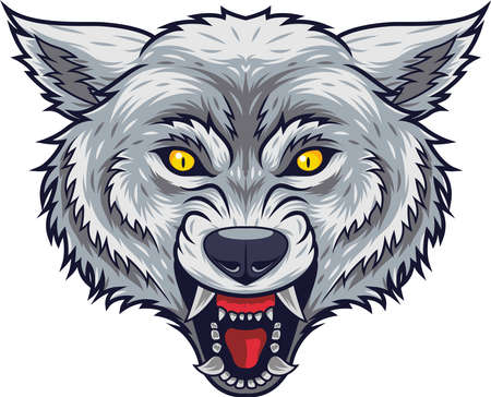 Angry wolf head mascot with open mouth